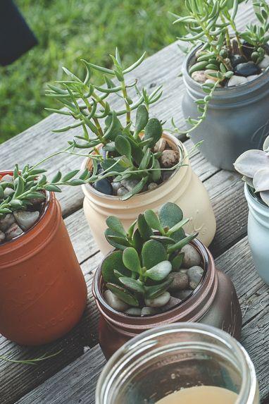 Mason Jar Crafts - Succulent Garden