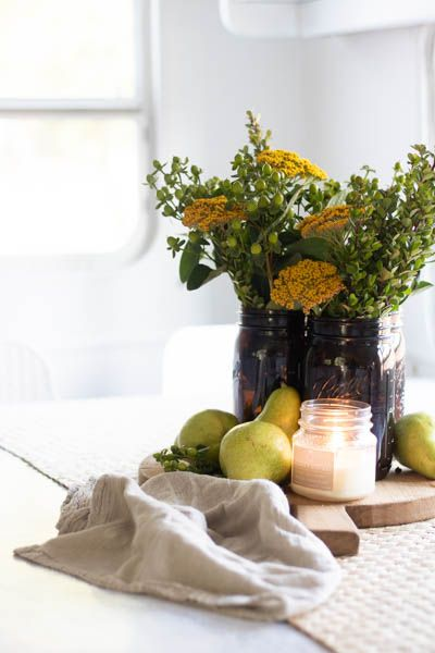 mason jar pear fall centerpiece