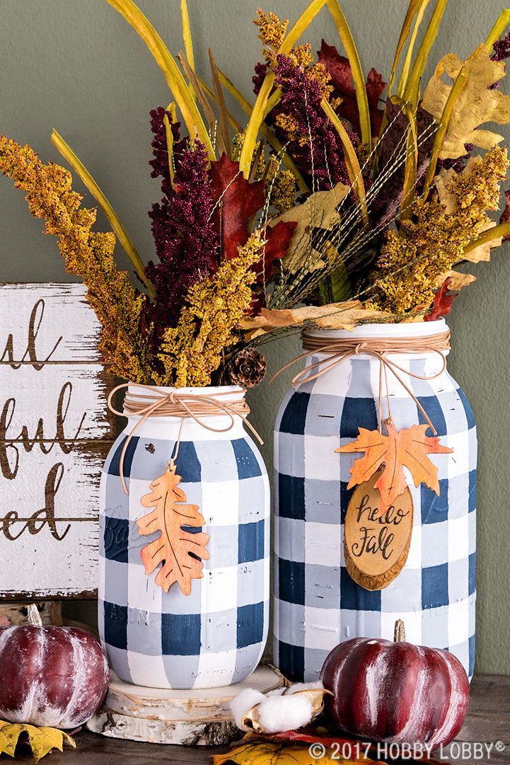 buffalo check fall mason jar vases