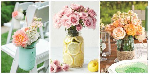 754de191b42 17 Pretty Mason Jar Flower Arrangements - Best Floral Centerpieces ...