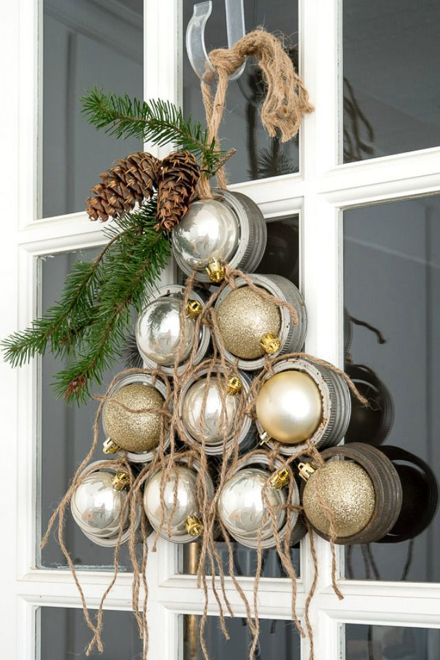 Mason Jar Lid Ornament Christmas Tree Door Decoration