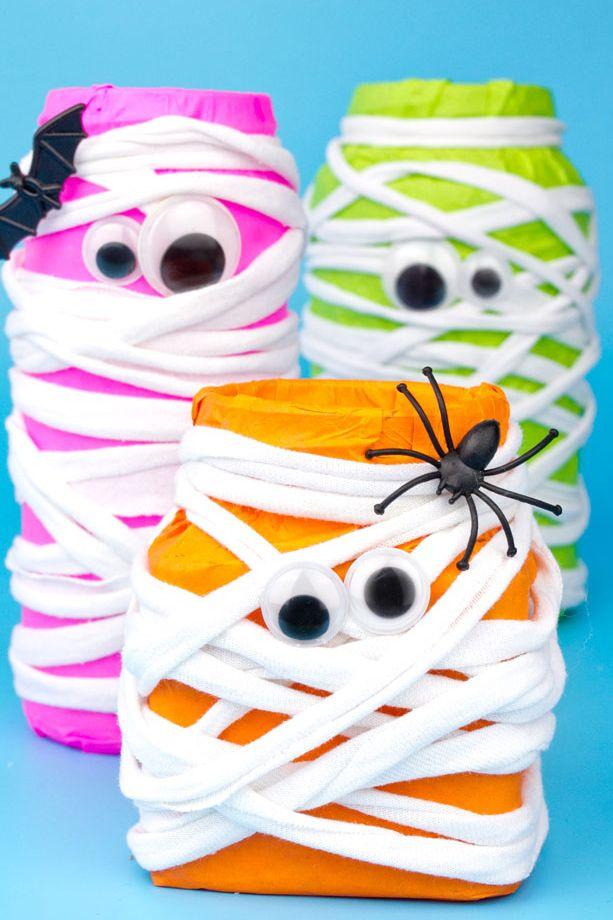 mummy jar halloween crafts for preschoolers