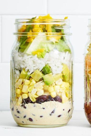 mason jar salad - chicken burrito bowl mason jar salad