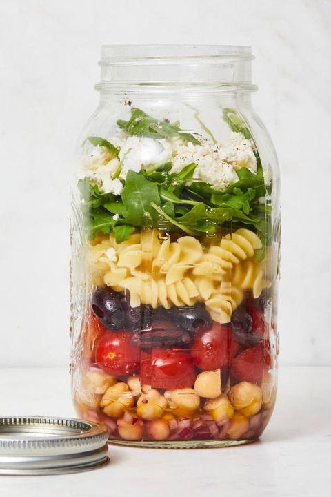 mason jar salad - chickpea pasta salad