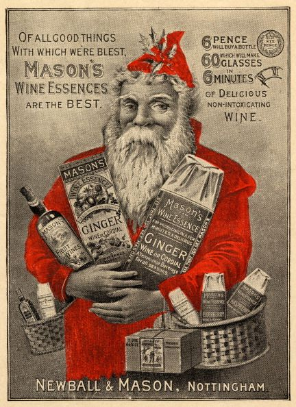 vintage wine holiday ad with santa holding presents