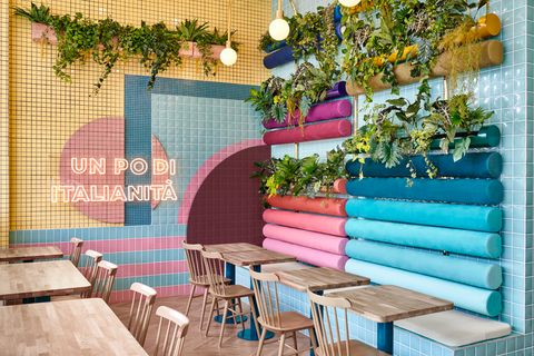 Cafetería Piada en Lyon (Francia), decorada por Masquespacio