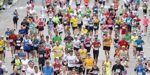 Midpack runners finishing the 2011 Boston Marathon