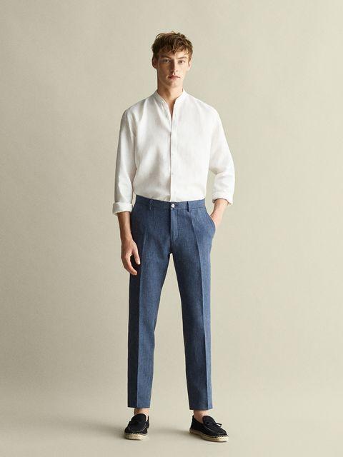 Pantalones lino hombre