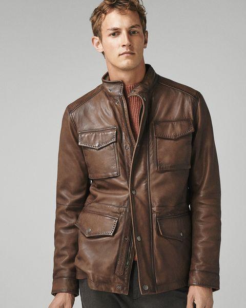cazadora de cuero marrón hombre