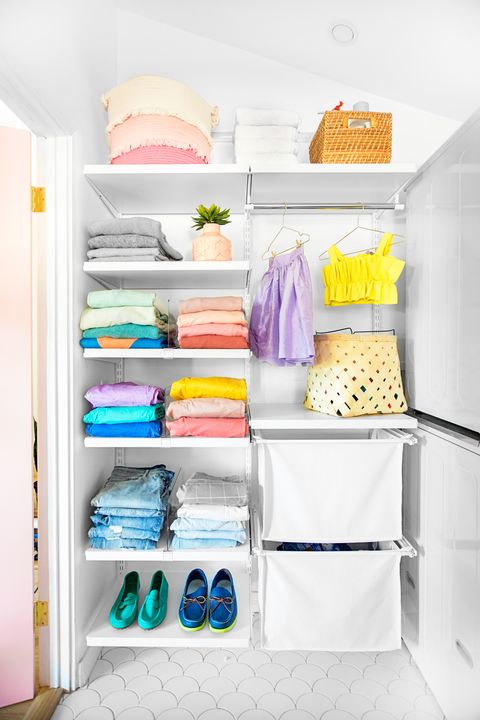 Shelf, Room, Furniture, Closet, Clothes hanger, Shelving, Wardrobe, Cupboard, Major appliance,