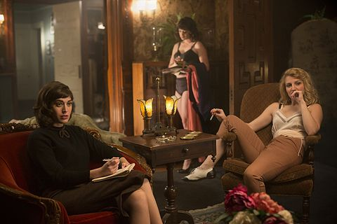 lizzy caplan as virginia johnson and annaleigh ashford as betty in masters of sex season 1, episode 2   photo peter iovinoshowtime   photo id mastersofsex1020653