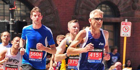 Masters runner at Boston Marathon