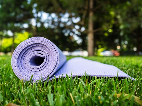 mat for yoga or fitness purple rug on green grass in the shade of a tree
