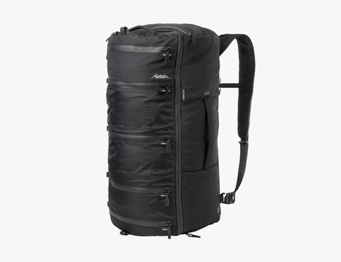 a black duffel with lots of zippers