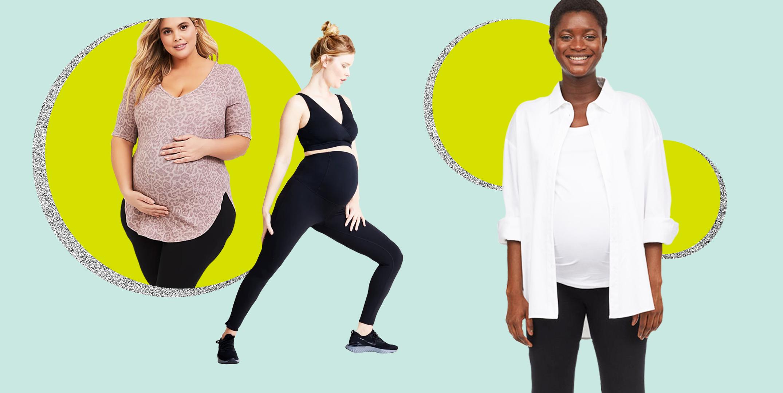Women/'s Plus Size Bump It Up Maternity Black Yoga Pants With Control Panel