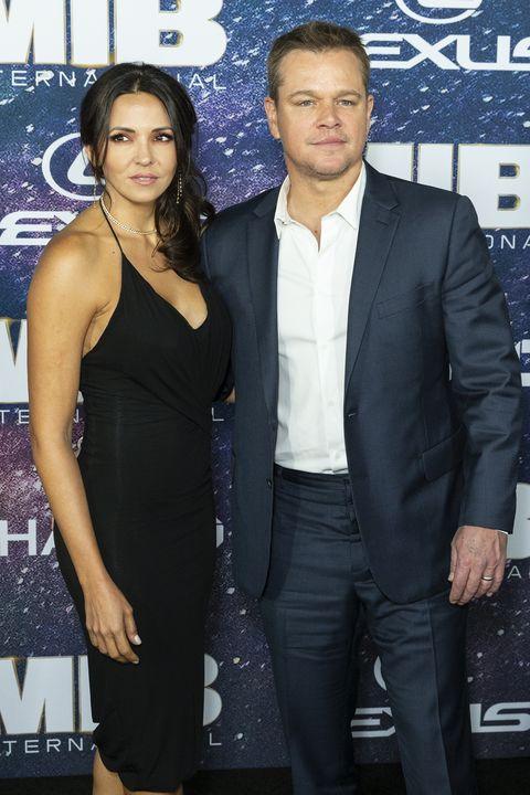 Matt Damon and Luciana Barroso attend Men in Black:...