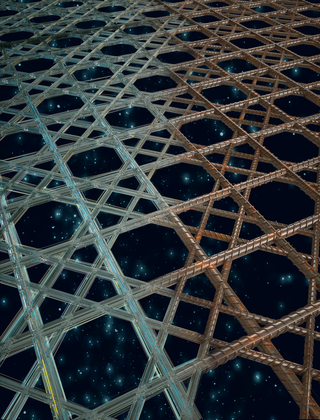 composite rendering that transitions from a glassy sponge skeleton on the left to a welded rebar based lattice on the right