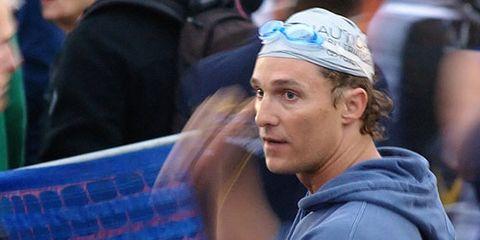 Matthew McConaughey before Nautica Triathlon Malibu in 2008