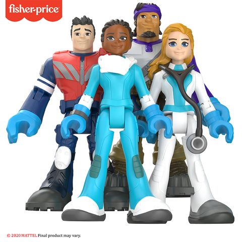 a doctor, nurse, emt, and delivery driver action figures from mattel's thankyouheroes collection