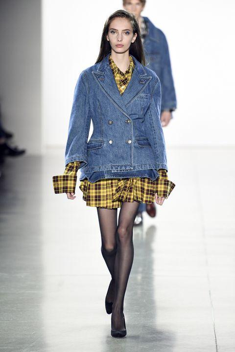 Fashion model, Fashion show, Fashion, Runway, Clothing, Plaid, Tartan, Pattern, Blue, Textile,