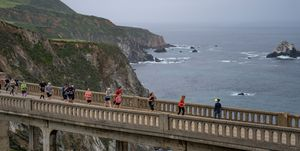 Runners at the Big Sur Marathon in 2019 in California.