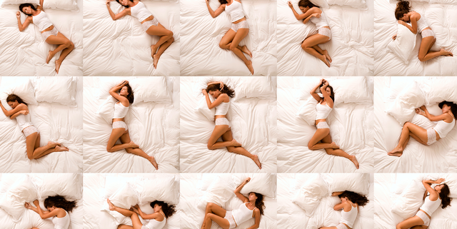 repeating images of a woman on a bed
