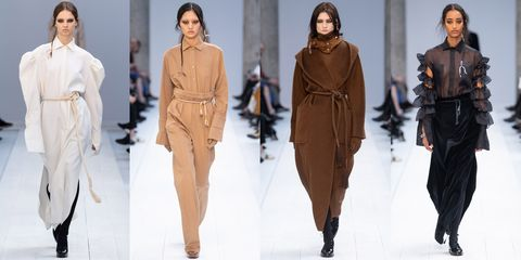 Fashion model, Fashion, Clothing, Runway, Fashion show, Outerwear, Human, Overcoat, Haute couture, Winter,