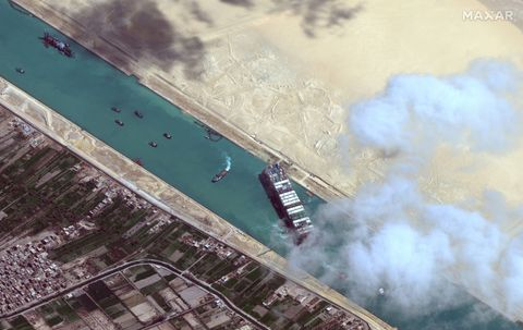 stuck ship ever given, suez canal    march 29, 2021  maxar new high resolution satellite imagery of the suez canal and the container ship ever given that remains stuck in the canal north of the city of suez, egypt