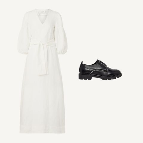 White, Clothing, Footwear, Dress, Formal wear, Shoe, Fashion, Robe, Gown, Sleeve,