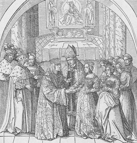 maximilian i, holy roman emperor 22031459 12011519 holy roman emperor 1493 1519    the wedding of maximilian i and mary of burgundy in the frankfurt cathedral, 1477   engraving taken from the weisskunig by hans burgkmair book illustration
