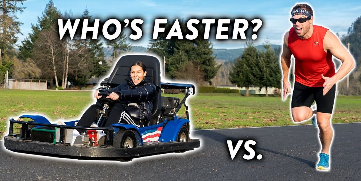 Watch an Olympic Runner Try to Beat a Go-Kart in a Race Around a Track