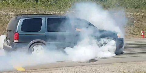 Land vehicle, Vehicle, Smoke, Car, Motor vehicle, Minivan, Van, Tire, Automotive wheel system, Automotive tire,