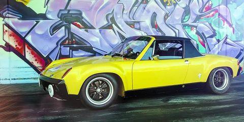 Land vehicle, Vehicle, Car, Sports car, Motor vehicle, Coupé, Classic car, Yellow, Porsche 914-6 gt, Race car,