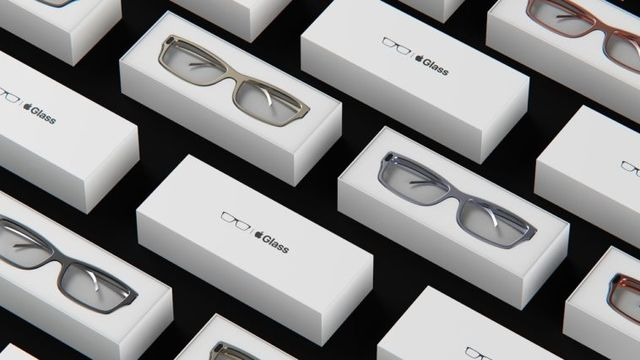 rectangular product boxes with apple glass written across the tops of some of them, and images of glasses across the others