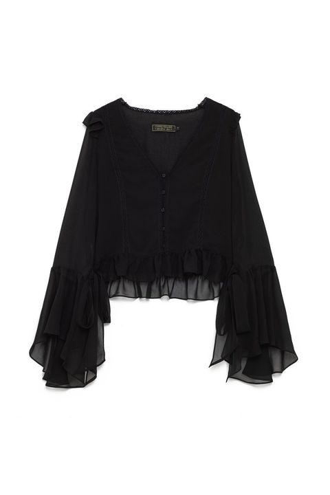 Clothing, Black, Outerwear, Sleeve, Blouse, Jacket, Ruffle, Fashion accessory, Crop top,