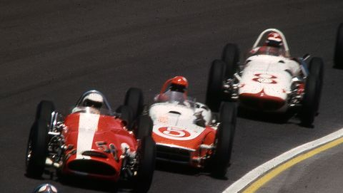 usac   1963 indy 500 action