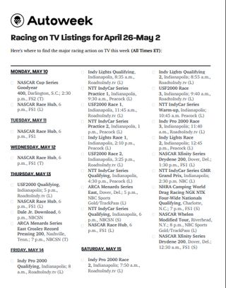 autoweek racing on tv may 1016