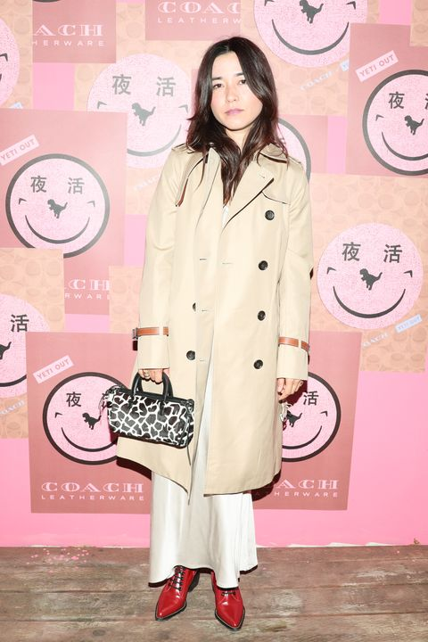 Clothing, Trench coat, Pink, Coat, Overcoat, Fashion, Outerwear, Peach, Street fashion, Style,
