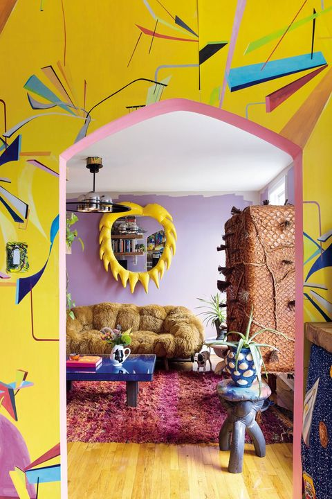 Yellow, Room, Art, Illustration, Graphic design, Architecture, Interior design, Fictional character, Ceiling,