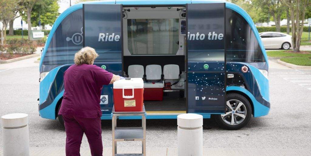 NAVYA's Autonomous Vehicles Are Transporting Coronavirus Tests