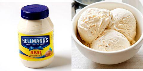 Food, Ingredient, Peanut butter, Dish, Cream, Cuisine, Nut butter, Dairy, Vanilla, Vanilla ice cream,