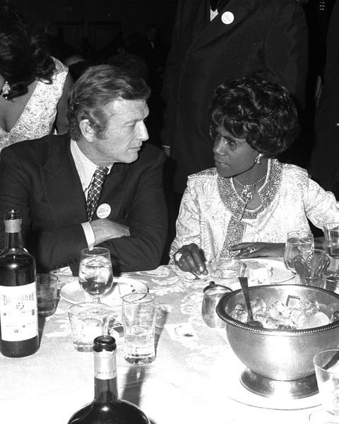 Mayor John Lindsay chats with Rep. Shirley Chisholm at $50-a
