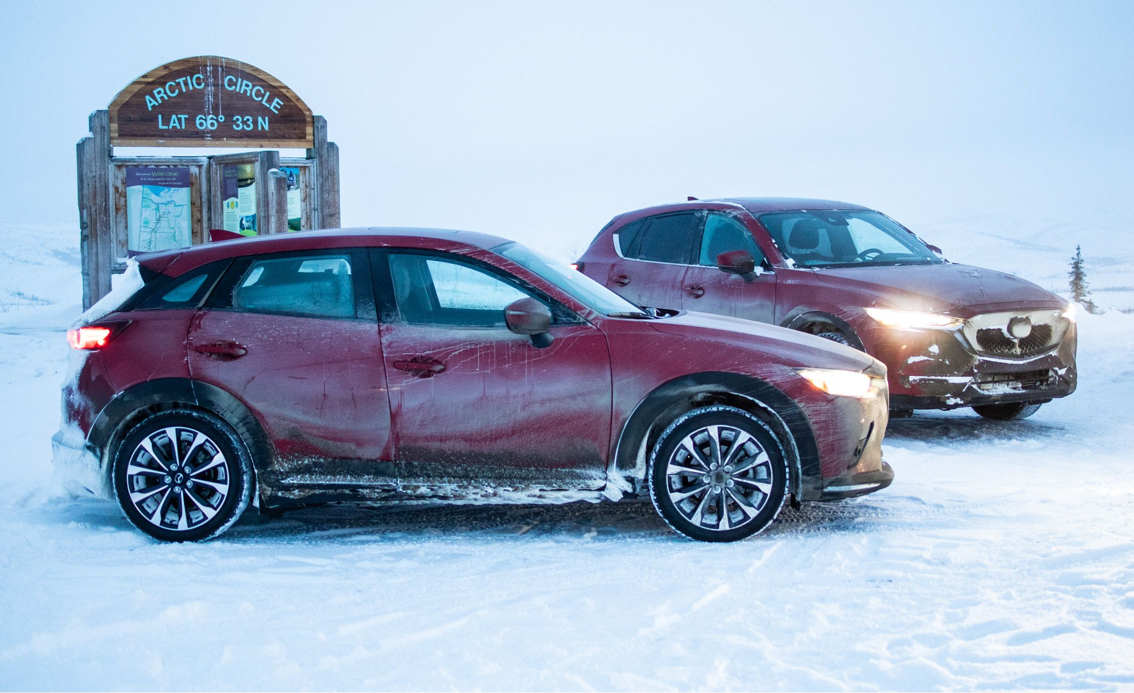 Driving Mazdas to the Arctic Circle in Northernmost Canada