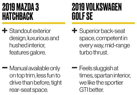2019 Mazda 3 vs 2019 VW Golf: Small Hatchbacks with Manual Transmissions