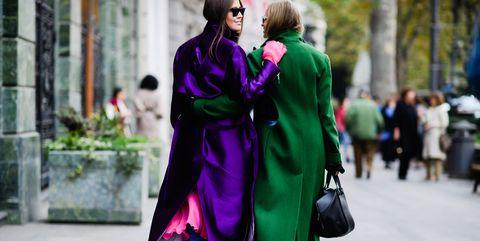Street fashion, Clothing, Fashion, Purple, Outerwear, Dress, Fun, Coat, Street, Costume,