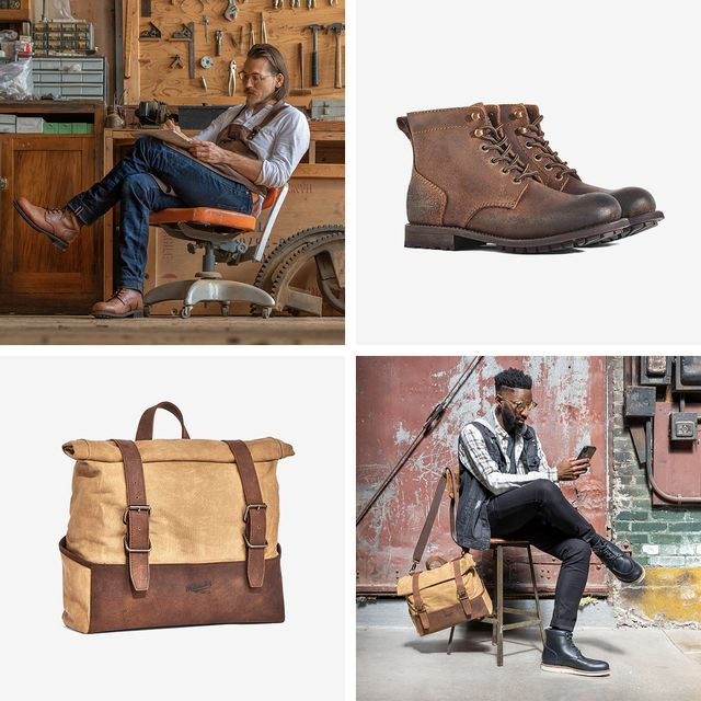 collage showing leather boots, a waxed canvas bag, and two men sitting wearing leather boots