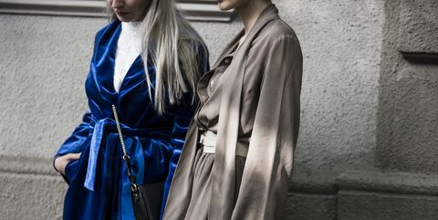 Clothing, Robe, Outerwear, Fashion, Street fashion, Electric blue, Costume, Trench coat, Style,