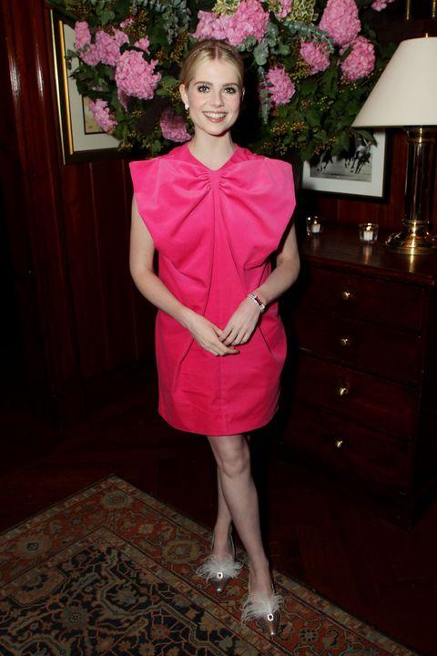 Pink, Clothing, Dress, Fashion, Cocktail dress, Formal wear, Plant, Flower, Costume, Satin,