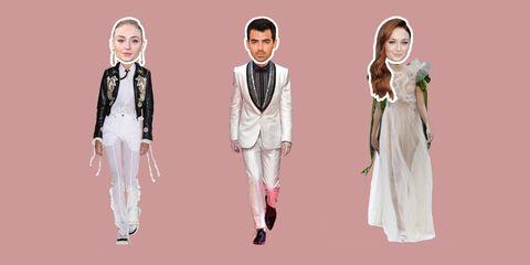 White, Formal wear, Clothing, Pink, Suit, Tuxedo, Fashion, Fashion design, Dress, Outerwear,