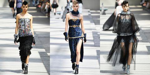 Fashion model, Fashion, Clothing, Street fashion, Runway, Shoulder, Dress, Footwear, Haute couture, Fashion show,